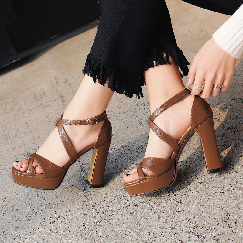 de485c7ac8c US  49 - Arden Furtado summer 2019 fashion trend women s shoes chunky heels  pure color sexy sandals buckle platform narrow band - www.ardenfurtado.com