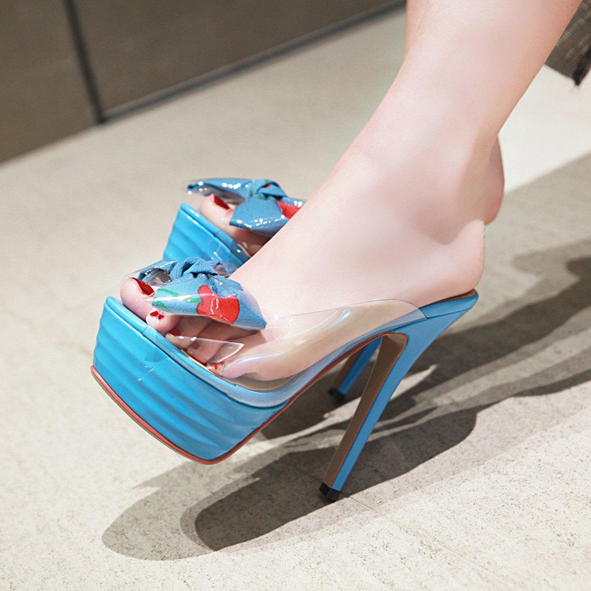 8f629fd8793b US$ 33 - Arden Furtado summer 2019 fashion women's shoes stilettos heels  peep toe slippers platform mules PVC bowknot butterfly knot sandals size 32  33 ...