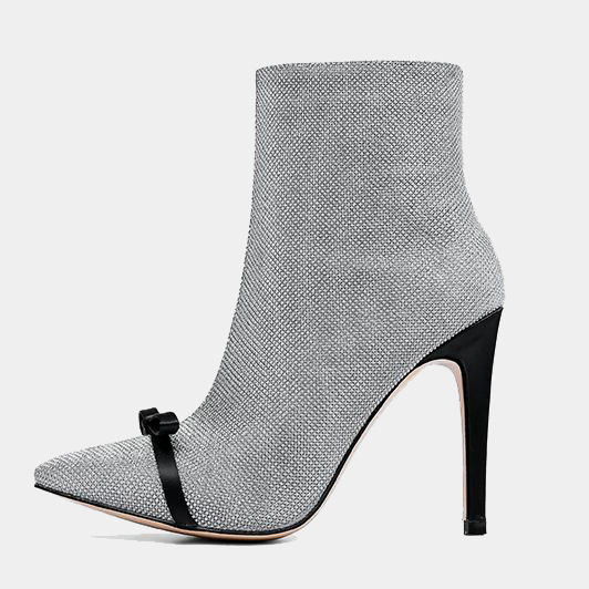c4672860ddf US  58 - Arden Furtado spring and autumn 2019 fashion women s shoes pointed  toe stilettos heels office silver lady party shoes big size 43 zipper short  ...