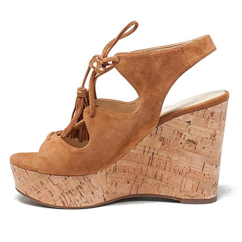 130dc5d78 US  51 - Arden Furtado summer 2019 fashion trend women s shoes wedges  sandals lace up fringed waterproof concise brown retro classics -  www.ardenfurtado.com