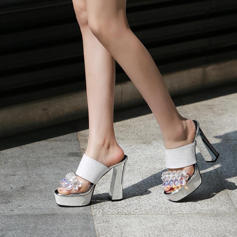 018172b2f403 US  45 - 2019 summer chunky heels platform fashion sandals ladies glitter  sexy crystal rhinestone women s slides flowers slippers 33 43 -  www.ardenfurtado. ...