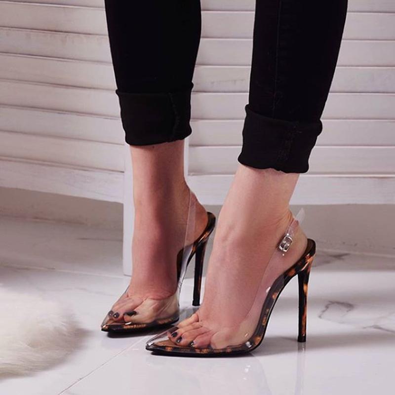 18f4fb29385 summer 2019 fashion trend women's shoes transparent mature sexy elegant  pointed toe stilettos heels PVC sandals