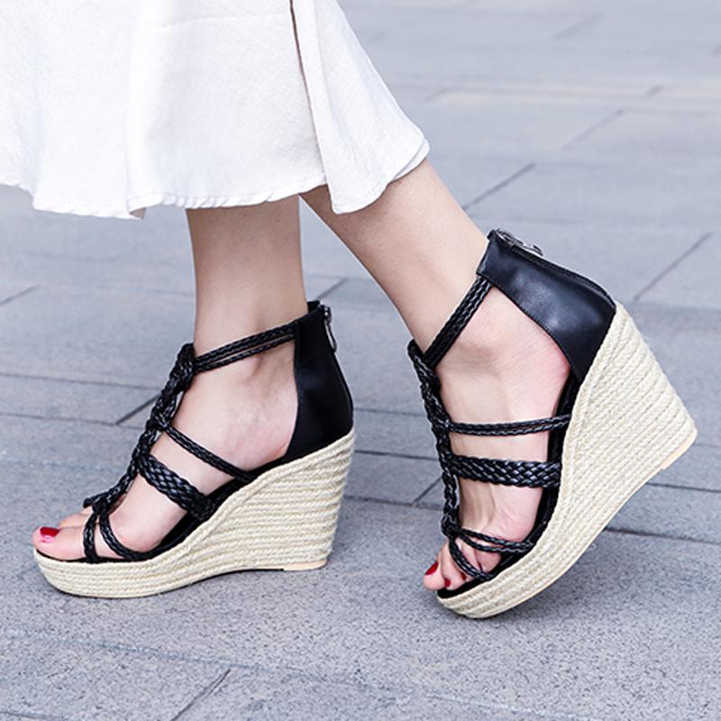 2a1e51fac7 US$ 57 - Arden Furtado summer 2019 fashion trend women's shoes pure color  sandals wedges waterproof narrow band - www.ardenfurtado.com