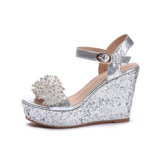 Arden Furtado 2018 summer high heels platform wedges crystal rhinestone  flowers silver fashion buckle sandals shoes