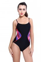 Women's Printed Athletic One Piece Swimsuit Sports Swimwear Training Suit KL852030