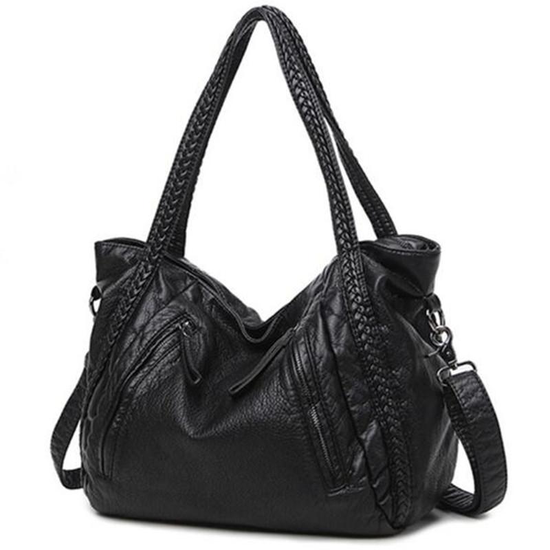 Black Large Slouchy Soft Leather Women Handbag Braided Shoulder Tote Bag Lady Hobo Satchel Item No 47360