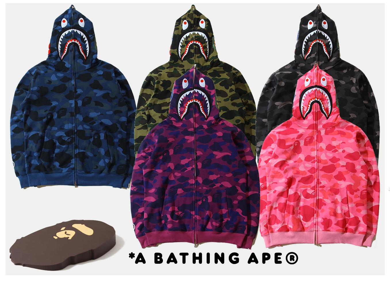 29bca56e Falection 17fw A Bathing APE BAPE WGM Shark Hooded Camo Sweatshirt Jacket  Item NO: 77299