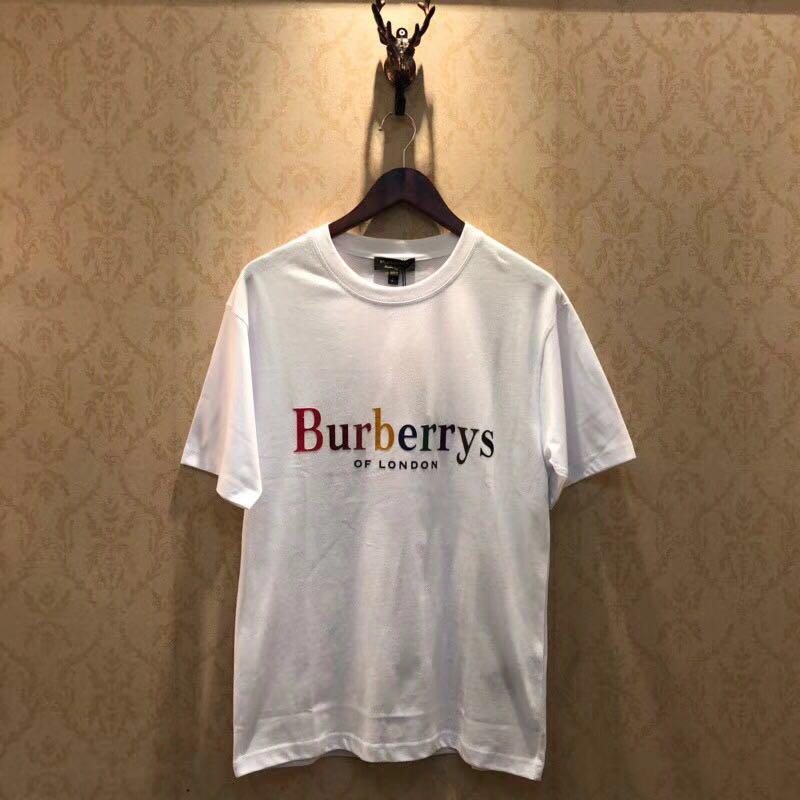 Falection 18ss BURberry London Rainbow Flocking Logo Tshirt Item NO  220825 60fac6baafd