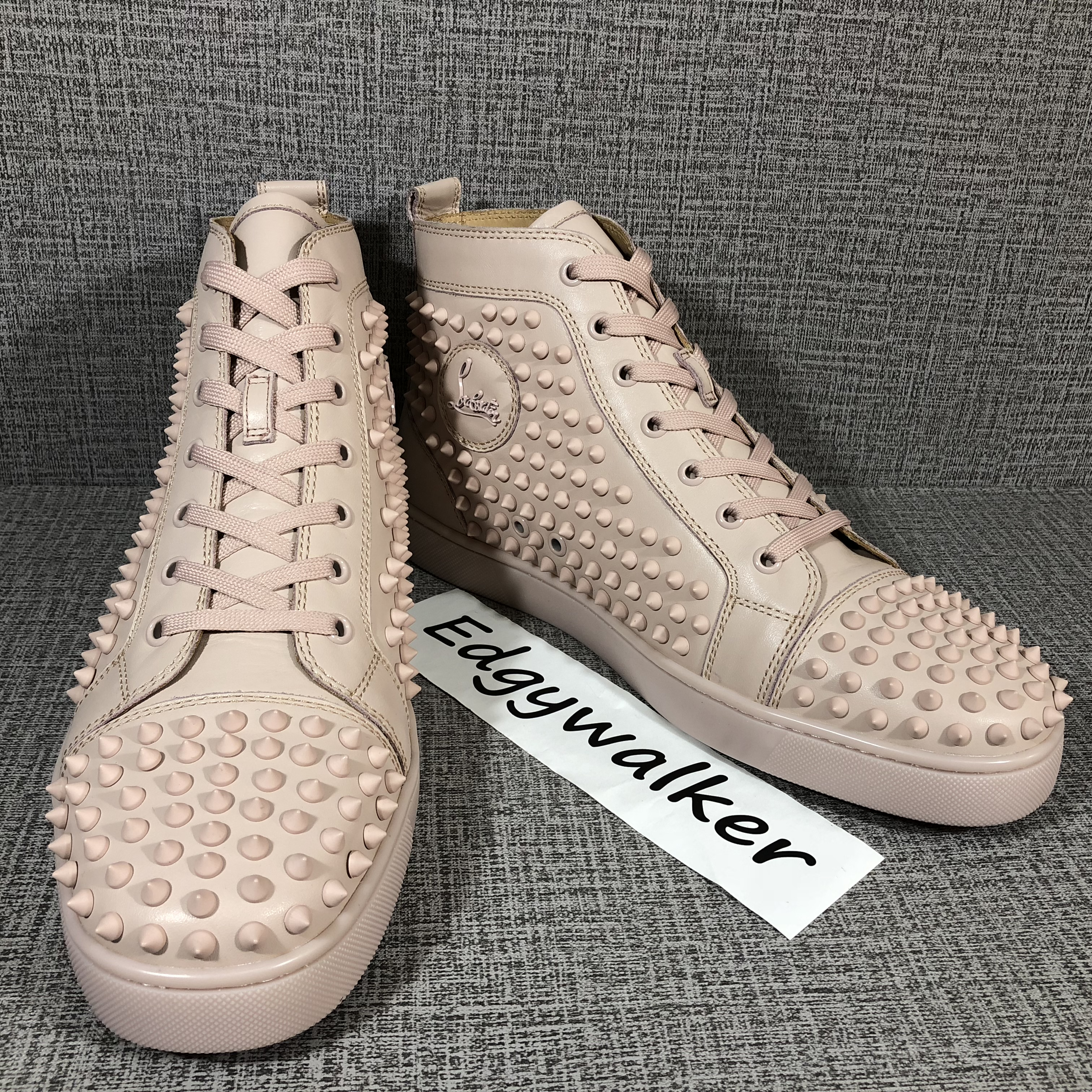 b3a1a34929c CLSKH92 Louboutin Louis pink spikes pink Leather High-top Sneaker Item NO   CLSKH92