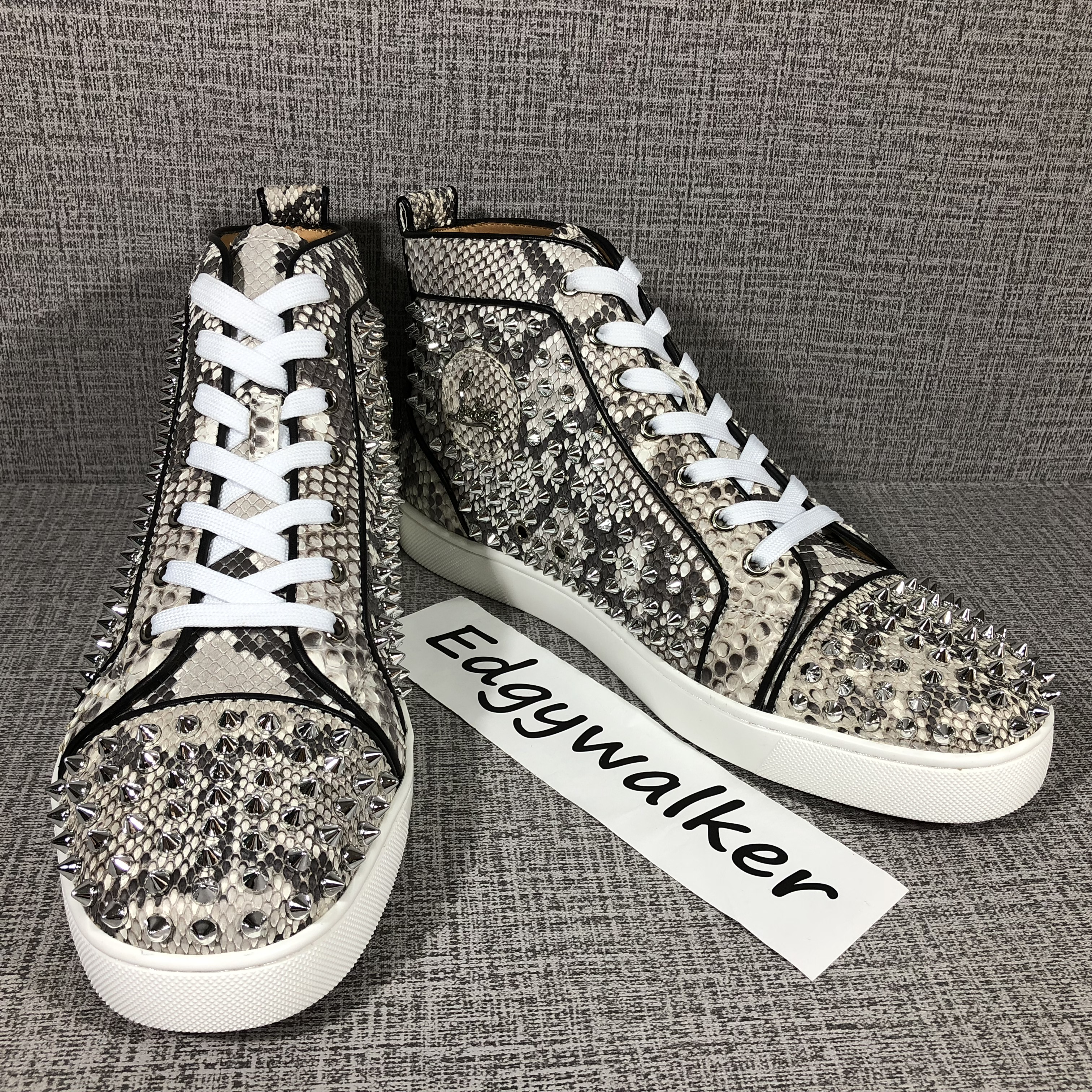 ad418e6b71c CLSKH115 Louboutin White snakeskin silver high-top spikes Item NO  CLSKH115