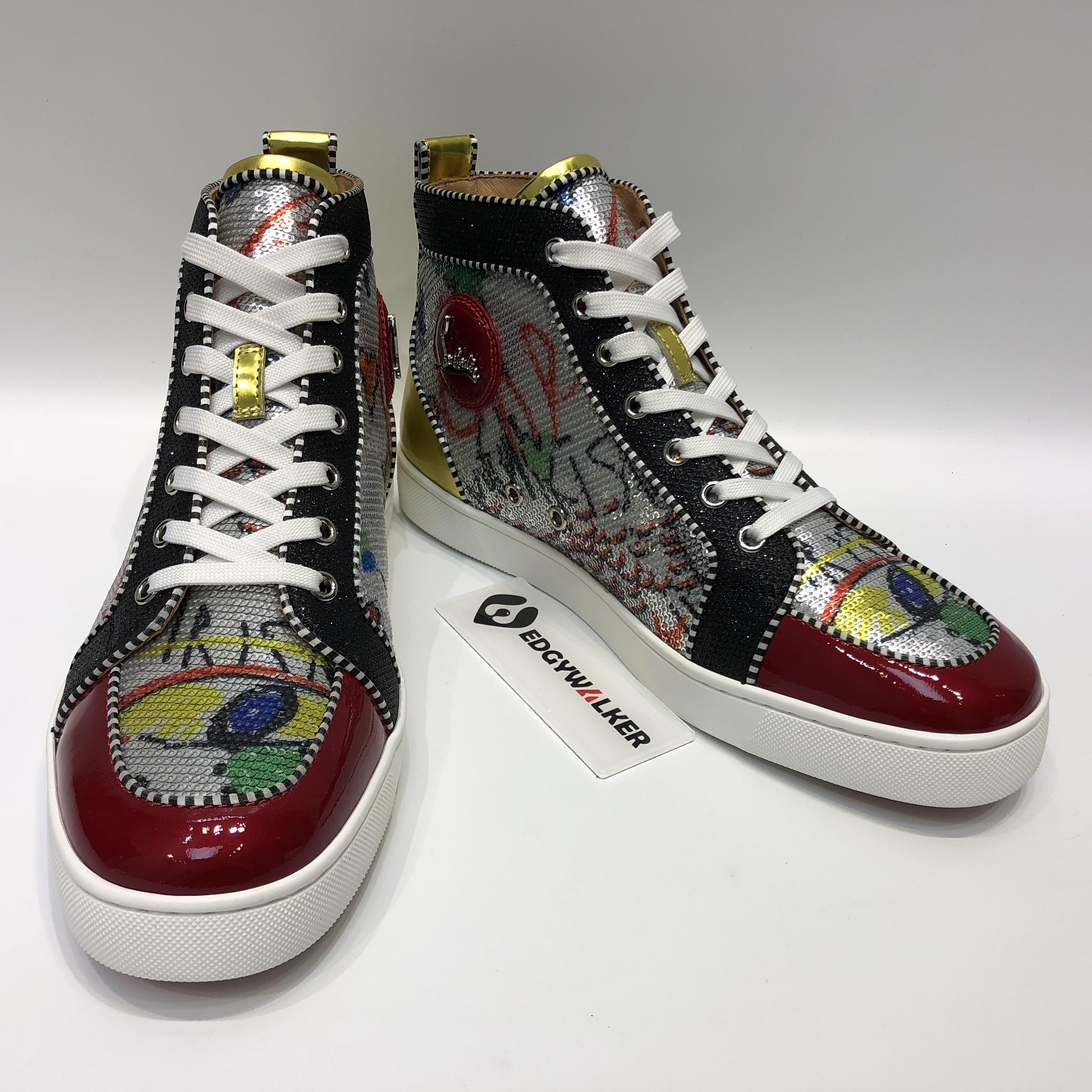 c18c0e0ff38 CLSKH130 Louboutin Rantus Orlato Men s Flat Loubitag Paillette Silver High-Top  Sneaker Item NO  CLSKH130
