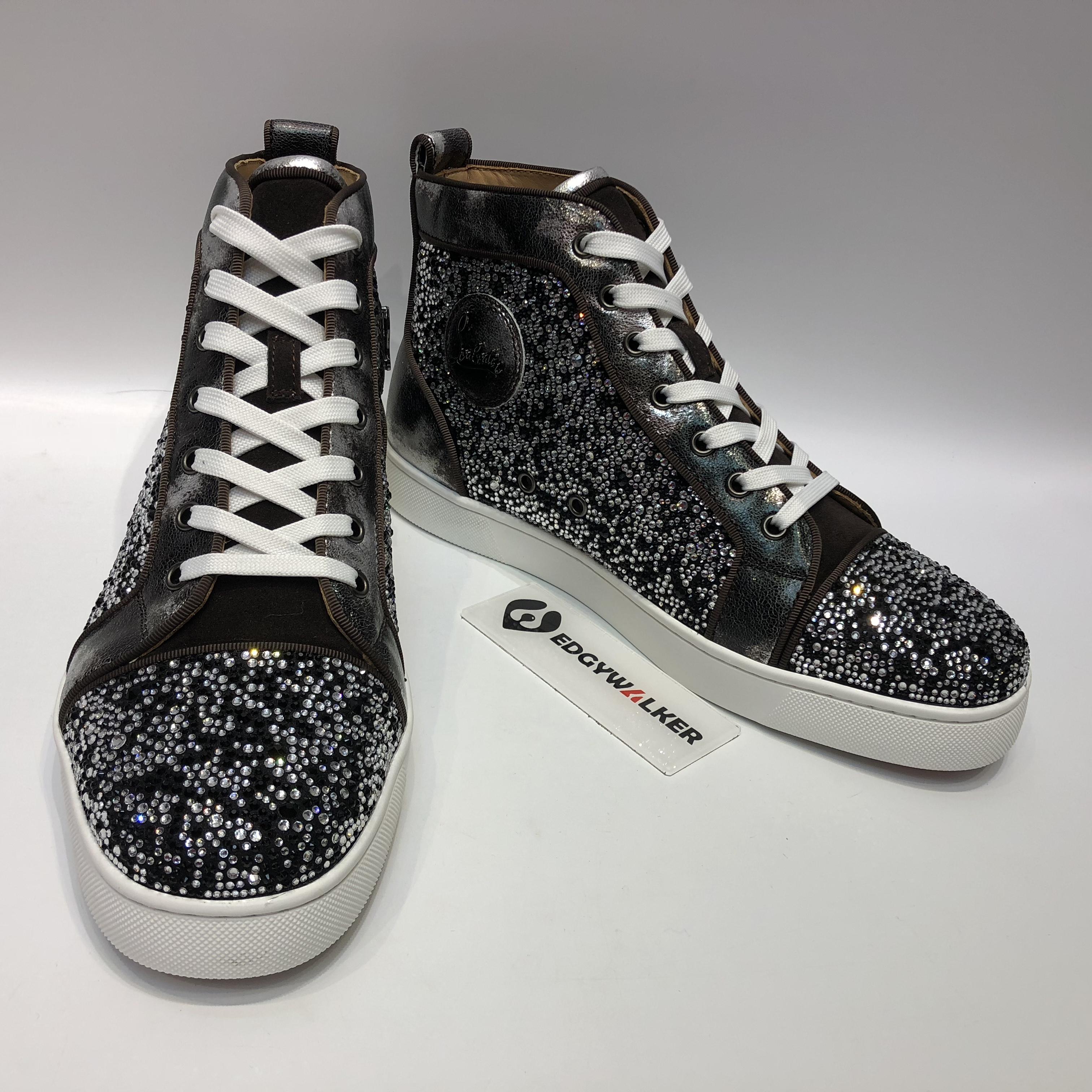 68c8783f57a CLSKH155 Louboutin Louis Orlato Men s Flat Reglisse Silver Highs Sneaker  Item NO  CLSKH155