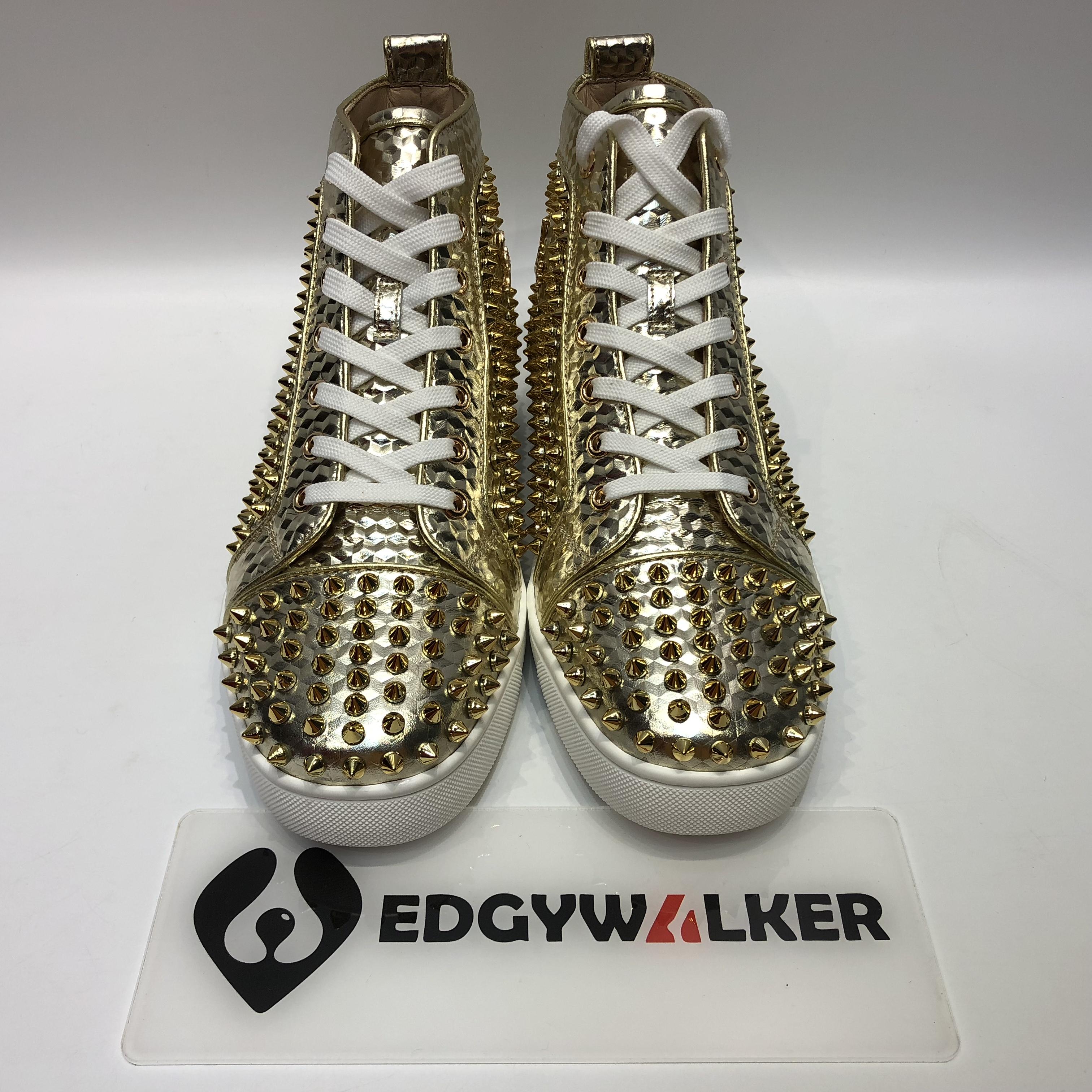 af122cf4a58 US  300 - CLSKH138 Louboutin Louis Orlato Men s Flat Platine Light Gold High-Top  Sneaker - www.edgywalker.net
