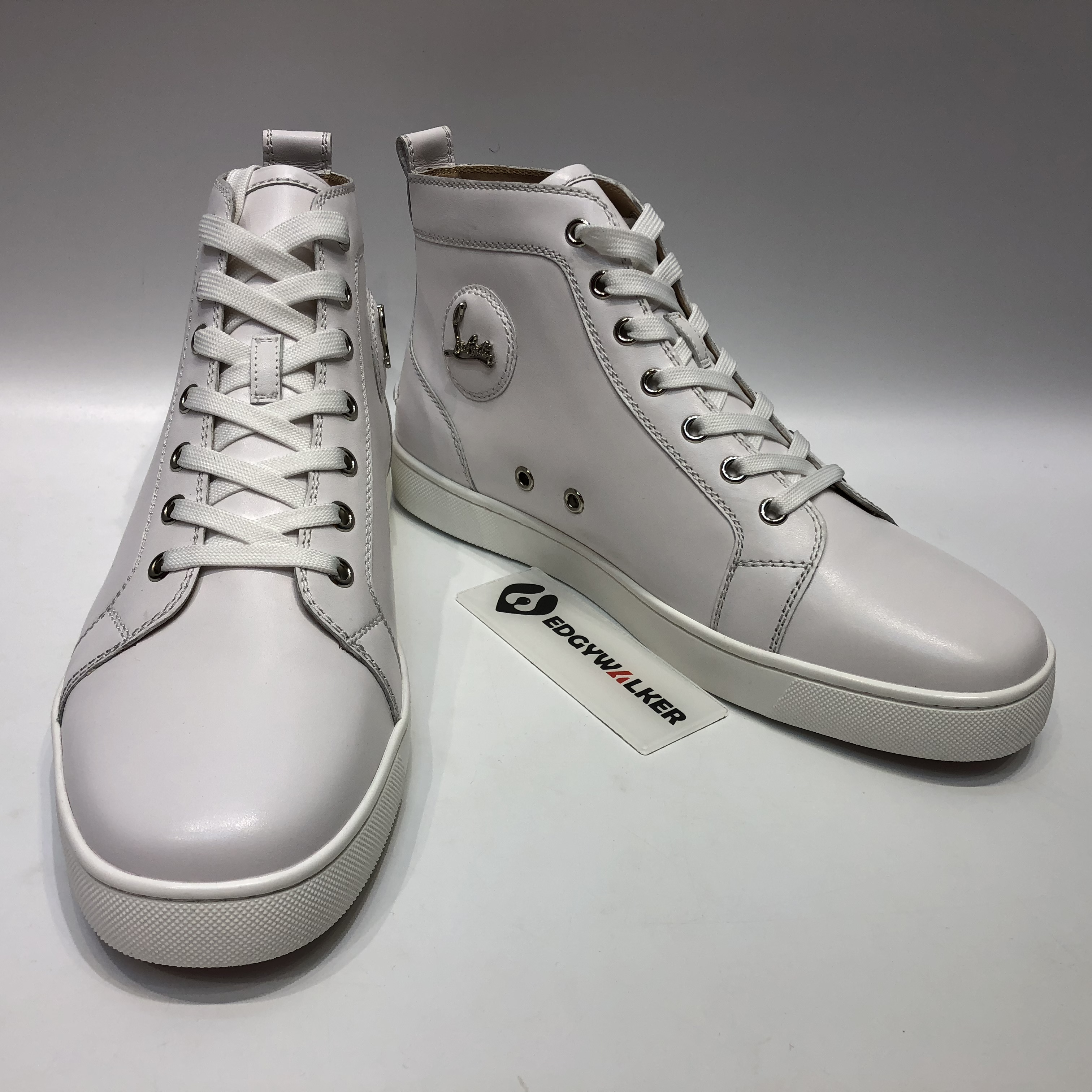 9b291a0cab5 CLSKH78 Louboutin Louis flat White Leather High-top Sneaker Item NO  CLSKH78