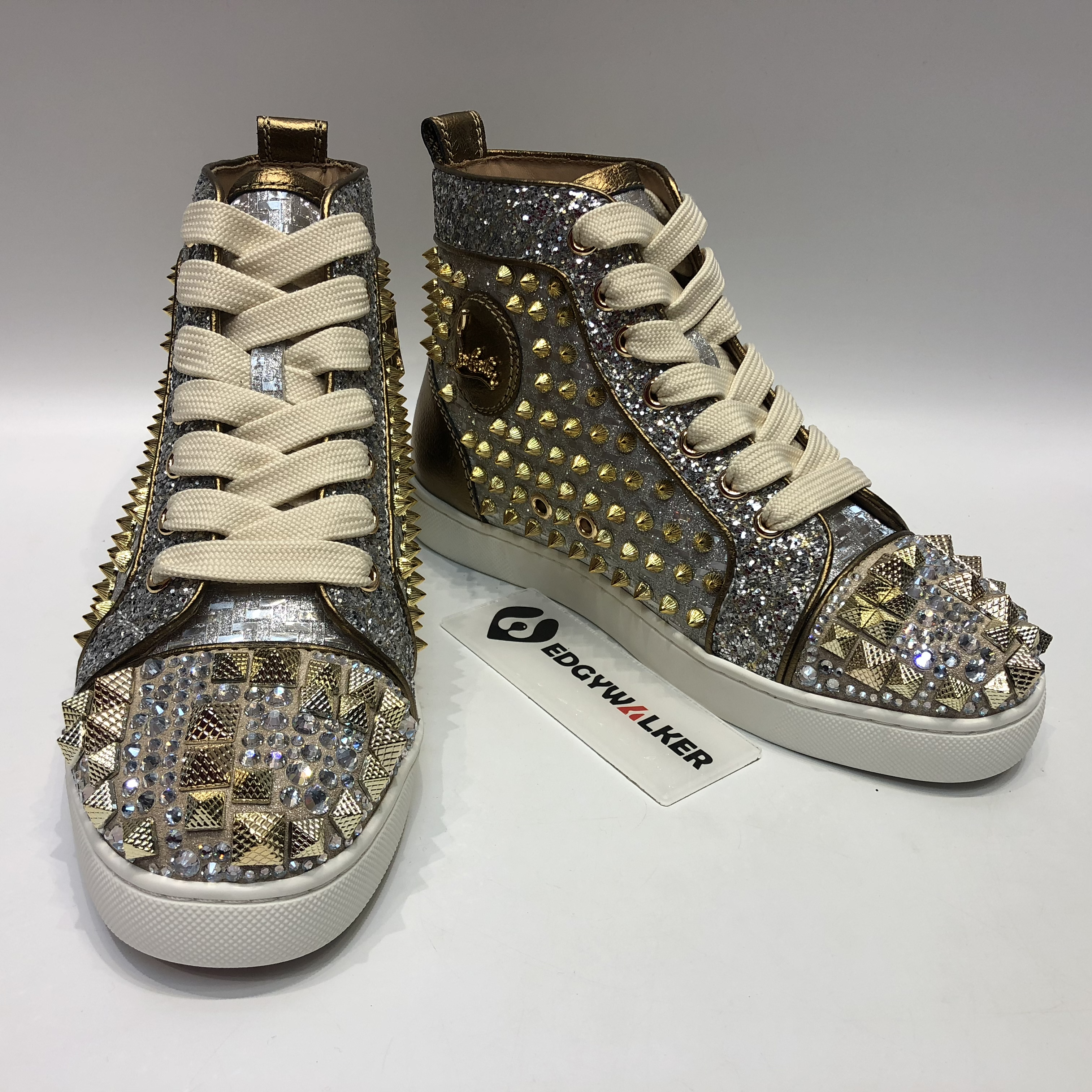 365c95b09d7 CLSKH111 Louboutin Louis Spikes Strass Mixkeoshell silver Leather High-top Sneaker  Item NO  CLSKH111