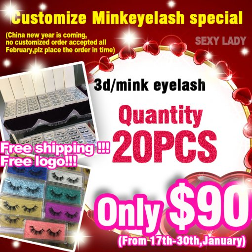 3d/mink eyelashes 20pairs free shipping free logo end by 30th,January