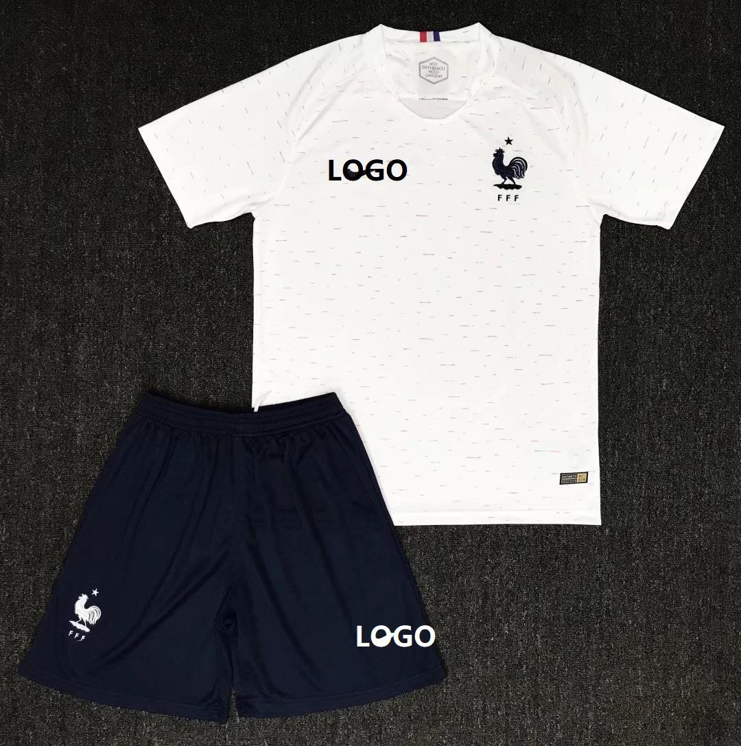 cb008ecc986 2018 Russia World Cup Soccer Kits Adult France Away Soccer Jersey Men  Football Uniforms