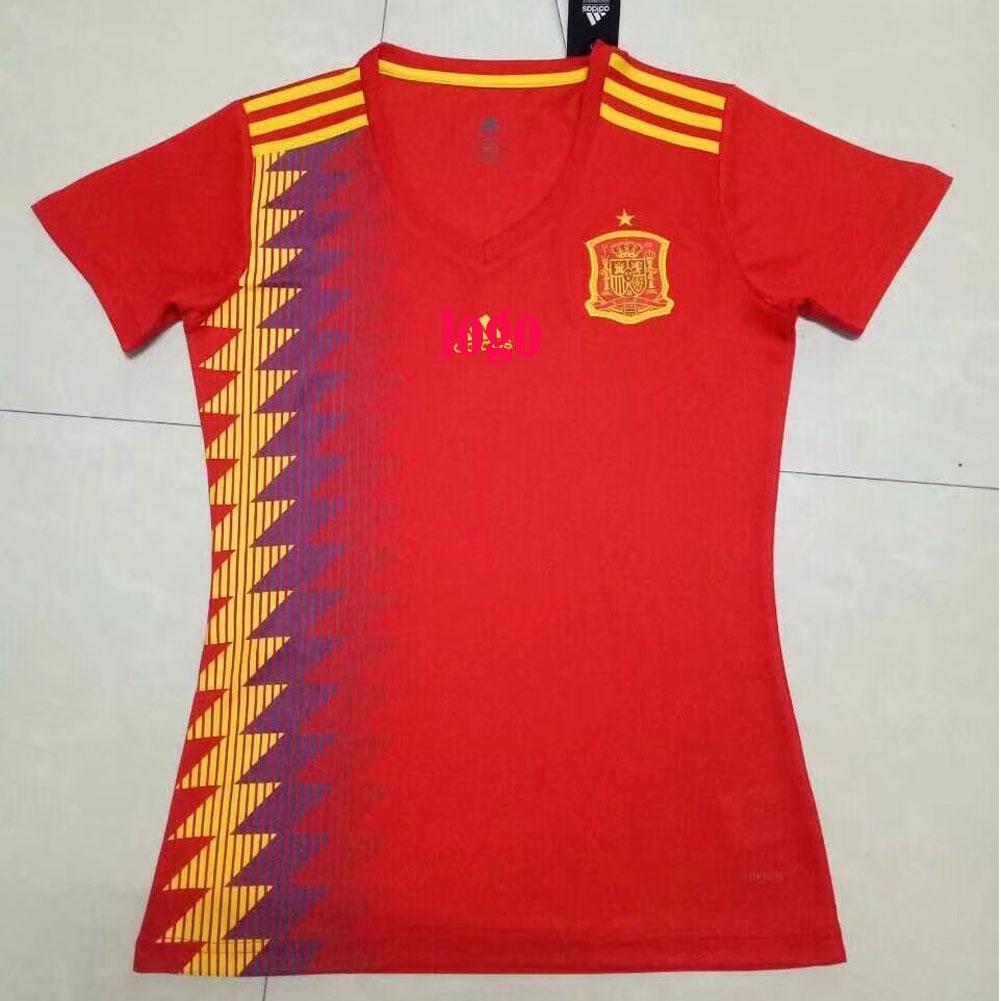 fcec5e63f7719 2018 Russia World Cup Woman Spain Home Jersey Red Soccer Shirt Women  Football Kits