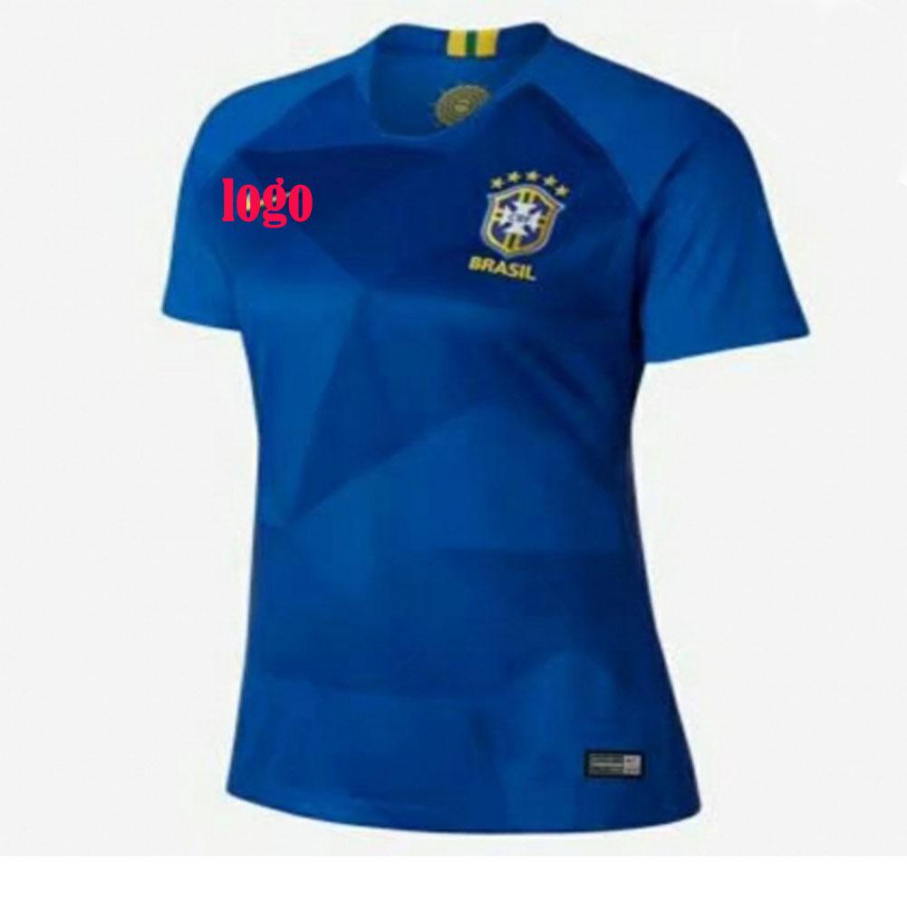 729905896 2018 Russia World Cup Woman Brazil Away Blue Soccer Jersey Women Football  Kit