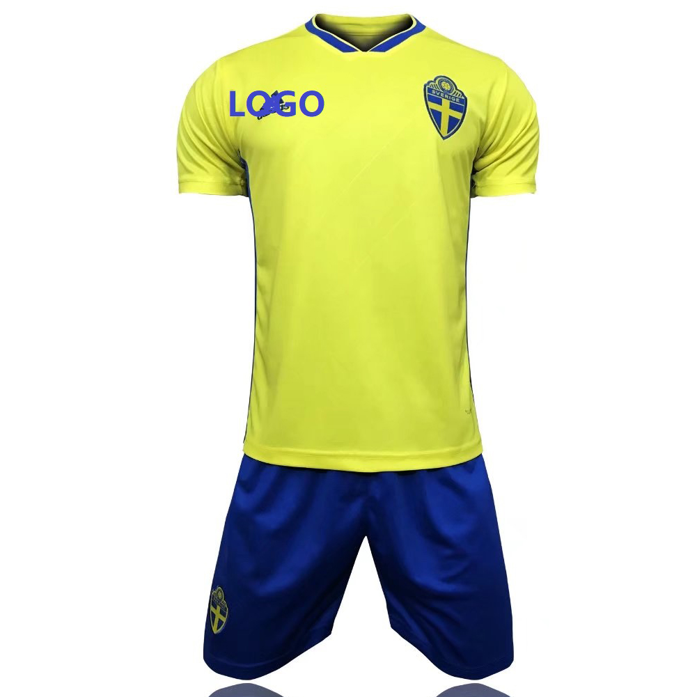 68ddc9d31af 2018 Sweden Home Yellow Adult Soccer Jersey Uniforms Russia World Cup  Football Team Kits custom soccer kits