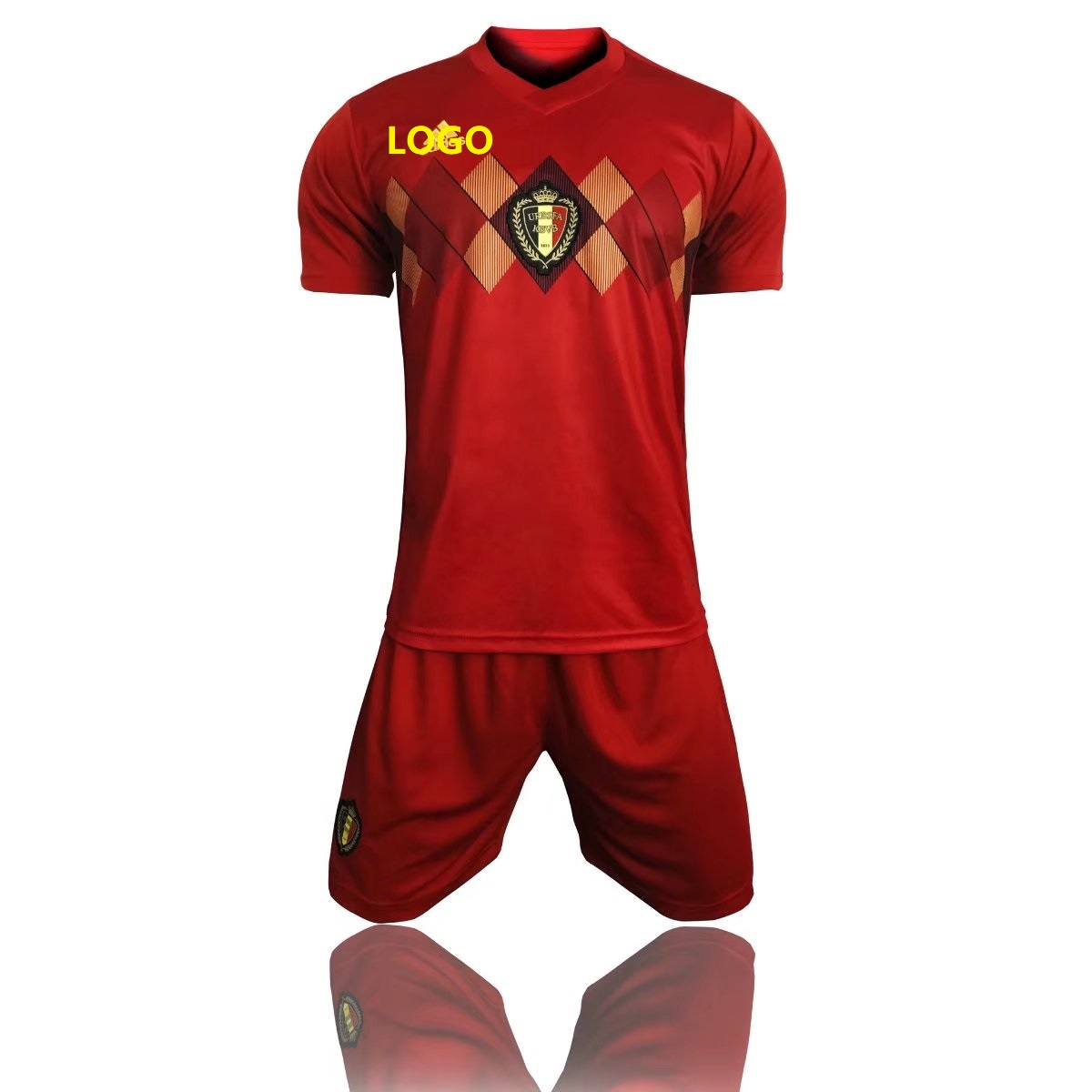 7a32579982f 2018 Russia World Cup Belgium Home Adult Soccer Uniform Men Football Kits  cheap soccer jerseys