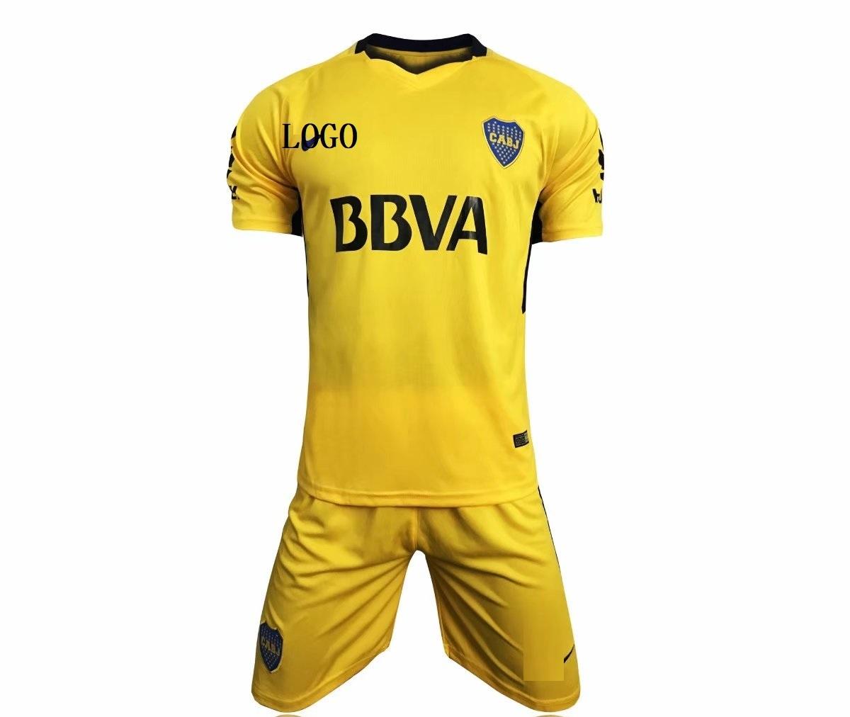 finest selection 5782a e46e4 2017/2018 Boca Juniors away Soccer kits Yellow Soccer Jersey Uniforms Cheap  Adult Football Uniform Kits
