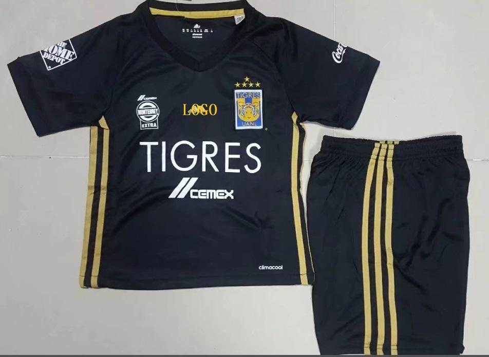 85aa7633b 17 18 Tigres UANL Home Black Soccer Uniforms Adult Football Kits Custom soccer  jerseys