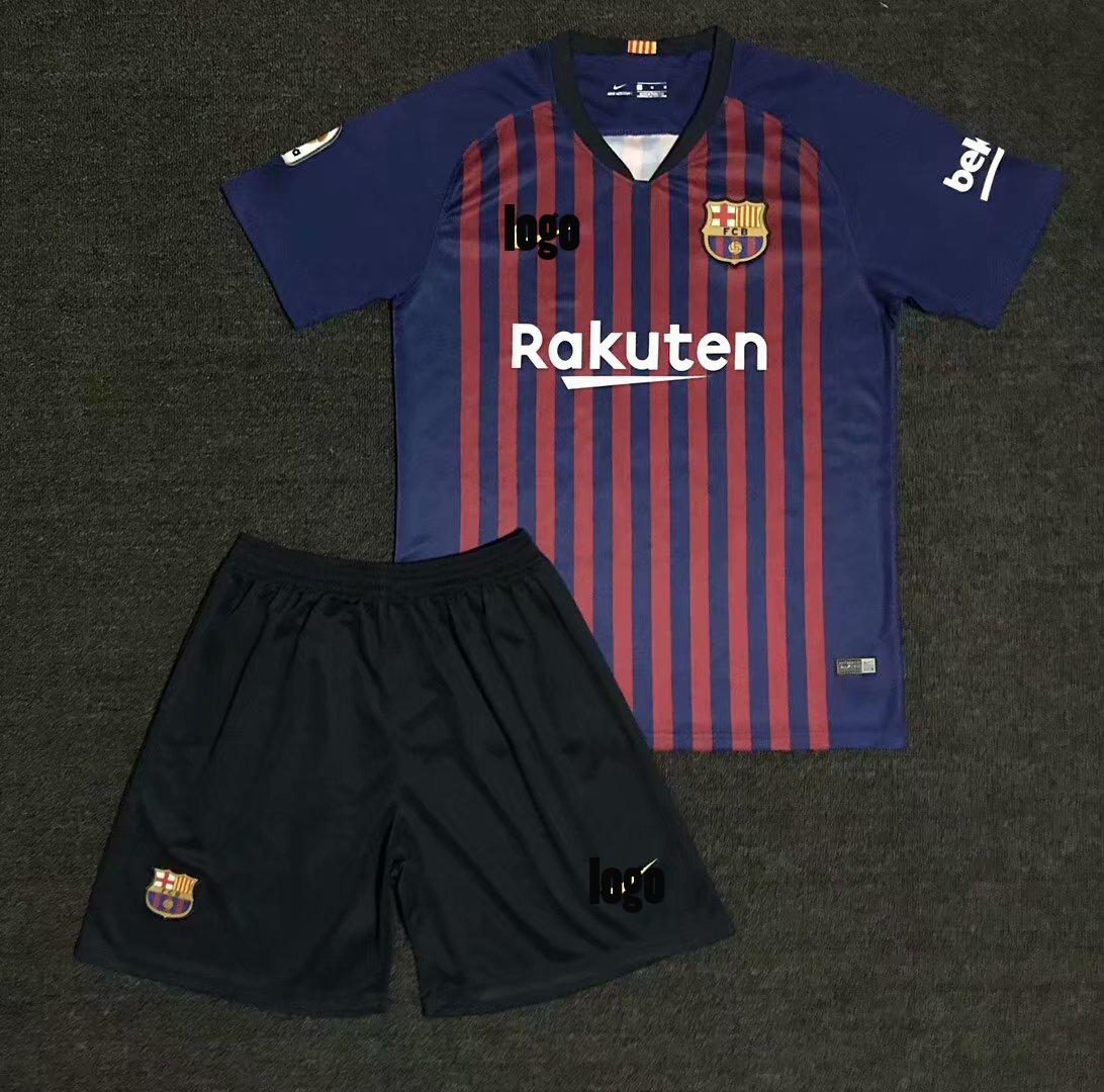 9ee7eaf9ca1 18/19 Adult Bacelona Home Soccer Uniform Men Football Jersey Wholesale Custom  Name uniforme de fútbol