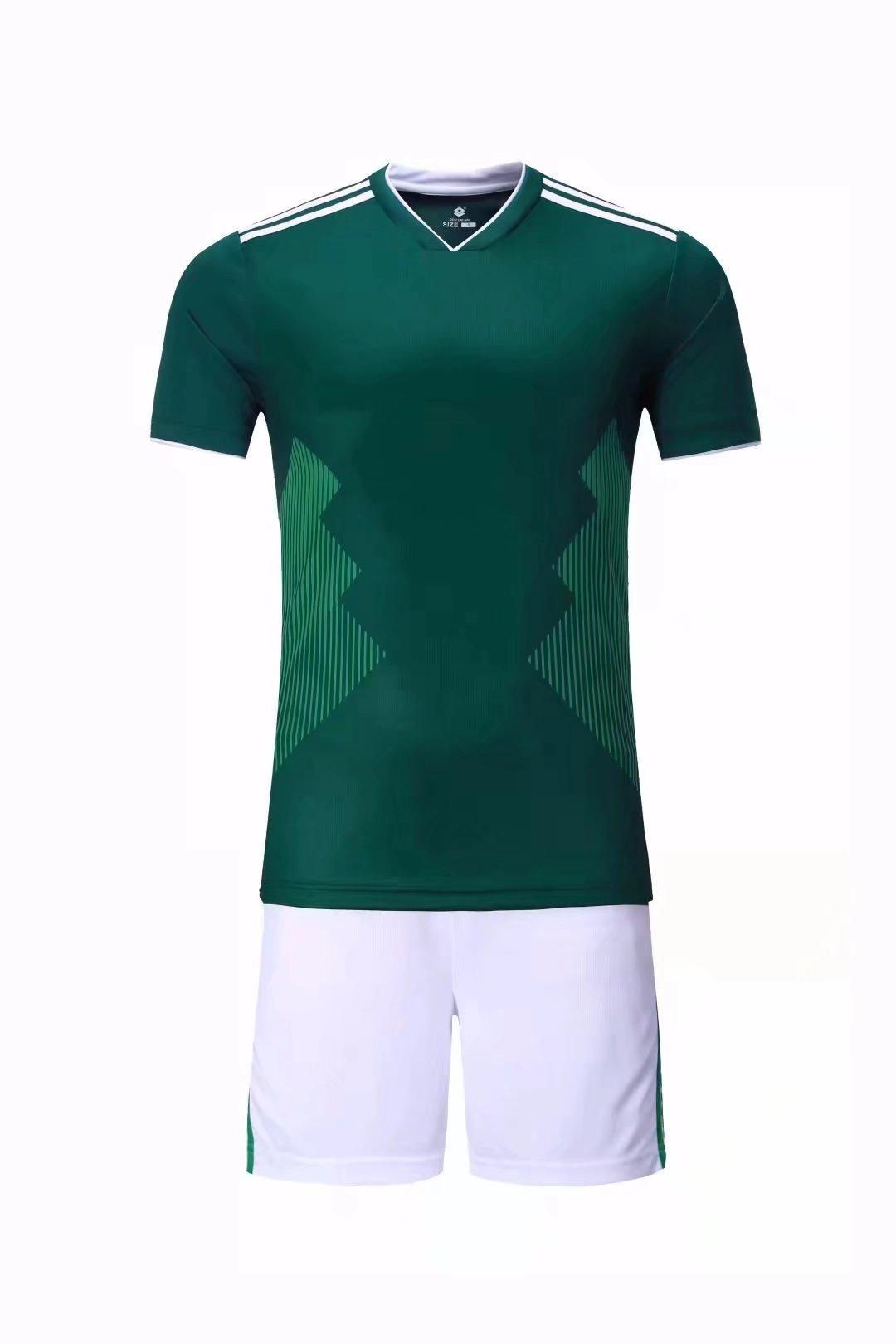 16a054c2488 2018 Adult Green Soccer Uniform Wholesale DIY Football Team Kits Custom  Soccer Shirts Online
