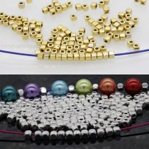 100Pcs Loose Cube Beads Metal Spacer Beads Jewelry Findings 3.5*3mm