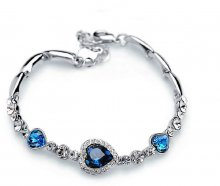 Charm Women Ocean Heart Blue Crystal Rhinestone Bangle Bracelet For Gift
