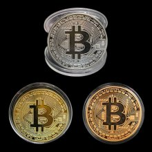 Bitcoin Commemorative Round Collectors Coin Bit Coin is Gold Plated Coins 3 Color
