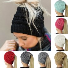 1pc Women Messy High Bun Ponytail Stretchy Knit Beanie Skull Winter Warm Hat
