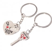 Romantic Couple Keychain Keyring Keyfob Valentine's Day Lover Gift Heart Key Set