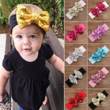 Baby Kids Girl Sequin Lace Bow Hair Band Toddler Infant Turban Headband Headwrap