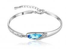 Nice Women Lady Silver Plated Crystal Bangle Charm Cuff Bracelet Jewelry Gift