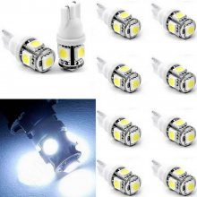 10X T10 5050 W5W 5 SMD 194 168 LED White Car Side Wedge Tail Light 12V Lamp Bulb