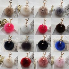 Chic Pendant Handbag New Key Ring Rabbit Fur Ball PomPom Cell Phone Car Keychain
