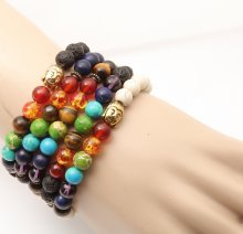New Fashion Natural Stone Beads Buddha Spot Healing Stone Bangle Bracelet