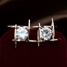 1 Pair Fashion Women Lovely Elegant Crystal Rhinestone Square Ear Stud Earrings
