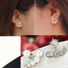 Trendy Women Pearl Crystal Rhinestone Ear Ear Stud Earrings Jewelry Gift Hot