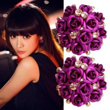 Women Girls Rose Flower Crystal Rhinestone Elegant Ear Stud Earring Jewelry Hot