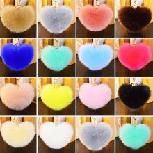 Rabbit Fur Heart Shape Ball PomPon Vogue Car Keychain Handbag Pendant Key Ring