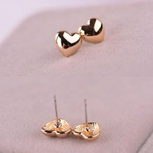 1 Pair Chic Women Lady Heart Silver/Rose Gold Plated Charm Ear Stud Earrings