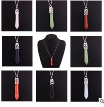 Silver Plated Trendy Gemstones Crystal Hexagonal Chakra Reiki Pendant Necklace