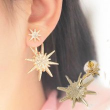 1 Pc Lady Women Crystal Rhinestone Dangle Gold Earrings Star Ear Stud Earring
