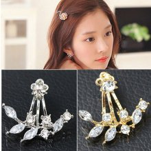 1 Pair Fashion Women Elegant Crystal Rhinestone Pearl Ear Stud Earrings Jewelry