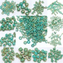 Retro Tibet Green Beads Spacer Beads Caps Jewelry For Making European Bracelet