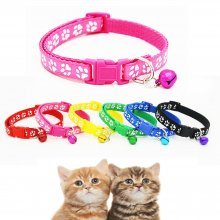 Lovely Small Footprint With Bell Pet Collar Nylon Fabric Cat Kitten Dog Puppy