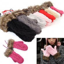 Trendy Women's Winter Warm Knit Gloves Warmer Mittens Finger Gloves Fashion